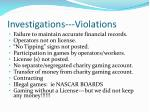 investigations violations