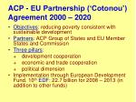 acp eu partnership cotonou agreement 2000 2020