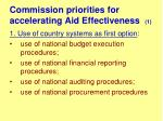 commission priorities for accelerating aid effectiveness 1
