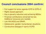 council conclusions 2004 confirm