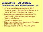 joint africa eu strategy financing sources for mdgs partnership 1