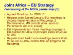 joint africa eu strategy functioning of the mdgs partnership 1