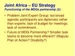 joint africa eu strategy functioning of the mdgs partnership 2