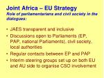 joint africa eu strategy role of parliamentarians and civil society in the dialogues