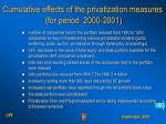 cumulative effects of the privatization measures for period 2000 2001