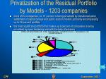 privatization of the residual portfolio by models 1203 companies
