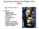 acute stress checklist for children asc kids