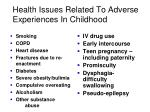 health issues related to adverse experiences in childhood