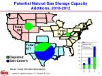 potential natural gas storage capacity additions 2010 2012