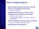 robust hedging program