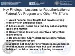 key findings lessons for reauthorization of federal aid program and other pm efforts