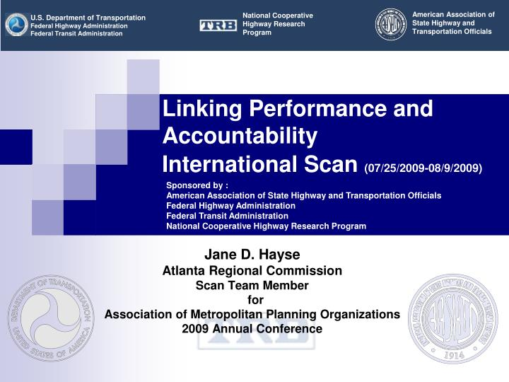 linking performance and accountability international scan 07 25 2009 08 9 2009 n.