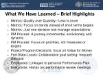 what we have learned brief highlights