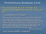 preliminary analysis cont