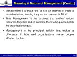 meaning nature of management contd