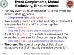 event complements mutual exclusivity exhaustiveness