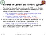 information content of a physical system
