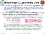 information logarithmic units