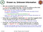known vs unknown information