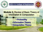 module 2 review of basic theory of information computation