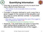 quantifying information