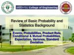 review of basic probability and statistics background