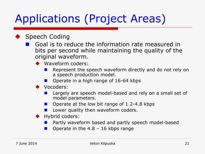 Applications (Project Areas)