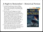 a night to remember historical fiction