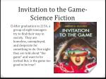 invitation to the game science fiction