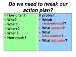 do we need to tweak our action plan