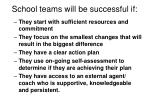school teams will be successful if