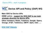 device apis work in progress