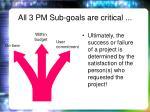 all 3 pm sub goals are critical