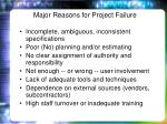 major reasons for project failure