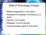 rate of technology change