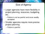 size of agency