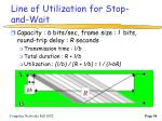 line of utilization for stop and wait