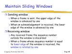 maintain sliding windows