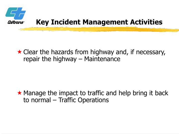 Key Incident Management Activities