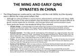 the ming and early qing dynasties in china
