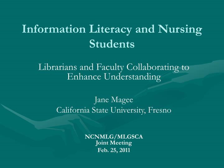 information literacy and nursing students n.