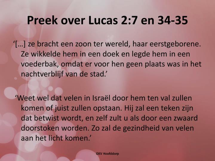 Preek over Lucas 2:7 en 34-35