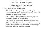 the cpa vision project looking back to 19981