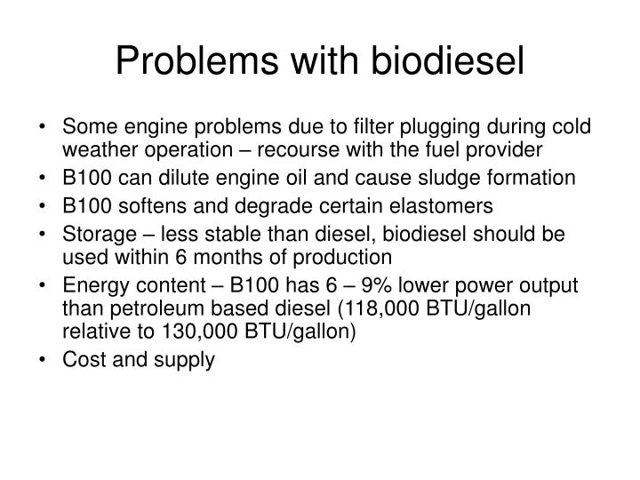 Problems with biodiesel