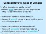 concept review types of climates