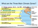 what are the three main climate zones