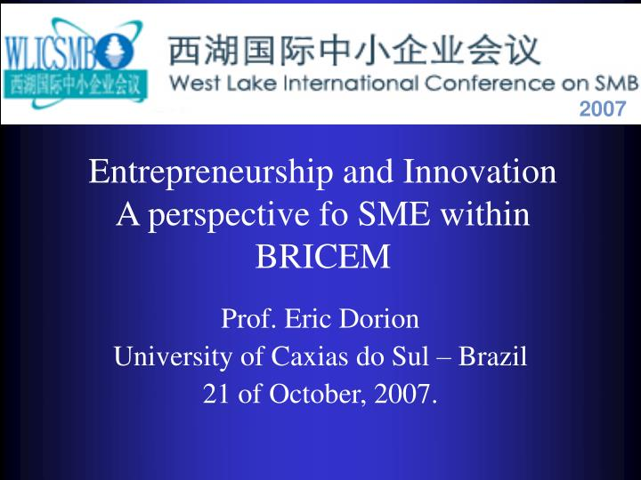 entrepreneurship and innovation a perspective fo sme within bricem n.