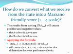 how do we convert what we receive from the state into a marzano friendly score 1 4 scale