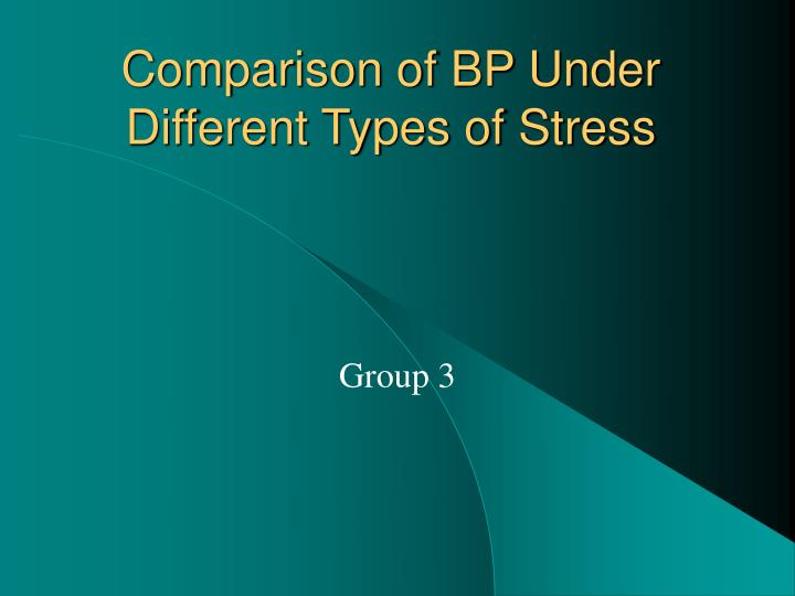 comparison of bp under different types of stress n.