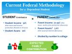 current federal methodology f or a dependent student